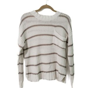 American Eagle Striped Pocket Open Knit Sweater XS